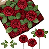 InnoGear Artificial Flowers, 50 Pcs Faux Flowers Fake Flowers Dark Red Roses Perfect for DIY Wedding Bouquets Centerpieces Bridal Shower Party Home Flower Arrangement Decorations