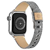 Compatible with Apple Watch Band 38mm 40mm 42mm 44mm for Women Men, Slim Fabric Canvas Band with Soft Leather Lining and Snap Button for Apple Watch Series 6/5/4/3/2/1 SE, Grey 42/44mm
