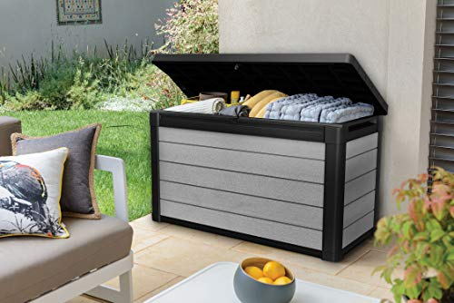 Keter Denali 100 Gallon Resin Large Deck Box-Organization and Storage for Patio Furniture, Outdoor Cushions, Garden Tools and Pool Toys, Grey/Black
