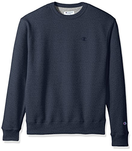 Champion Men's Powerblend Fleece Pullover Sweatshirt, Navy Heather, Large