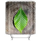 Amody Cortina Ducha Tela Hoja Cortina Ducha Impermeable Moho Verde marrón Cortinas de Habitacion Dormitorio 150x180CM