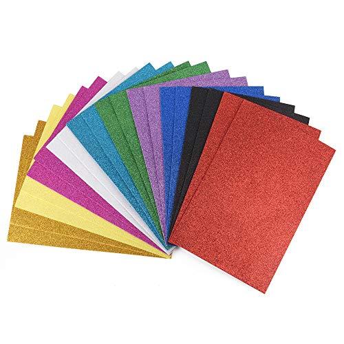 ewtshop® Lot de 20 feuilles de caoutchouc mousse pailleté pour types de 10 travaux manuels Format A4