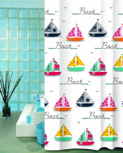 wohnideenshop Duschvorhang 180cm breit x 200cm lang Textil Boat Bunte Boote