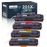 OFFICEWORLD 201X Cartucho de tóner de repuesto para HP 201X 201A para HP Color Laserjet Pro MFP-M277DW M252DW M277 MFP-M277N M252N M252 MFP-M274N M274 (1 Negro, 1 Cian, 1 Magenta, 1 Amarillo)
