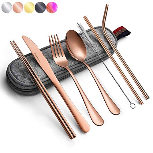 Rose gold Travel flatware set with Case Stainless Steel silverware Tableware Set,Include Knife/Fork/Spoon/Straw/Straw brush (Portable Rose gold)