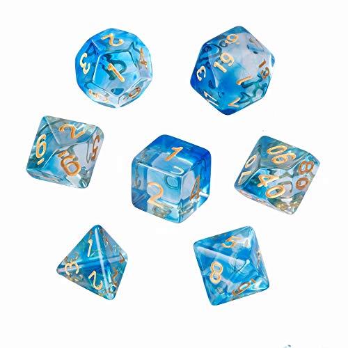 GWHOLE 7 Pezzi Dadi Poliedrici per Giochi di Ruolo con Giochi da Tavolo Dungeons And Dragons con Sacchetto Nero, Blu