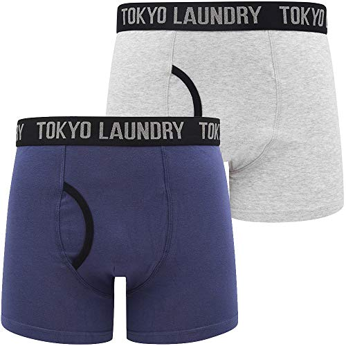Oldfield (2 Pack) Boxer Shorts Set in Deep Cobalt / Lt Grey Marl – Tokyo Laundry - L