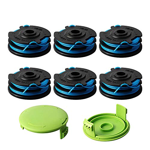 Thten Trimmer Spool Replacement for Greenworks 29242 29082 27ft 0.065 inch with Greenworks 21052 29272 and 21212 Dual line 0.062' Electric String Trimmers with 3410468 Cap Covers Parts(6Pack+2 Cap)