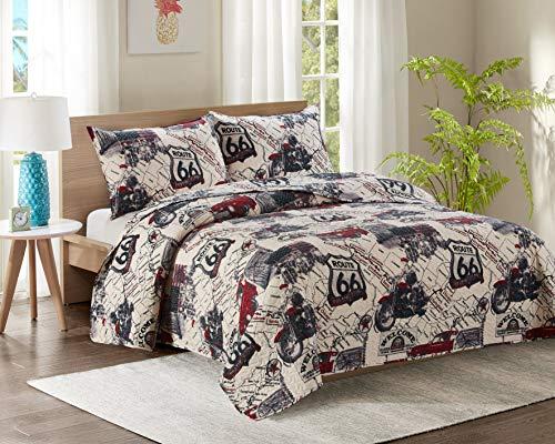 Kiplux® Colcha acolchada de lujo de polialgodón para todas las estaciones con almohadas (240 x 240 cm, ruta 66)