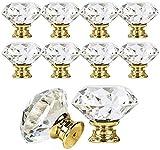 Pomo de Cristal,Perillas del gabinete 12 piezas 30mm Tiradores de Cristal de Diamante de Transparente para Alacena, Baño, Cocina, Gabinetes ,Tiradores de Cajones con Tornillo