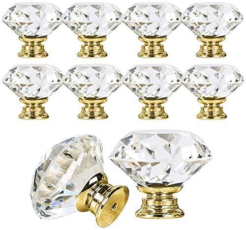 Pomo de Cristal,Perillas del gabinete 12 Piezas 30mm Tiradores de Cristal de Diamante de Transparente para Alacena, Baño, Cocina, Gabinetes,Tiradores de Cajones con Tornillo