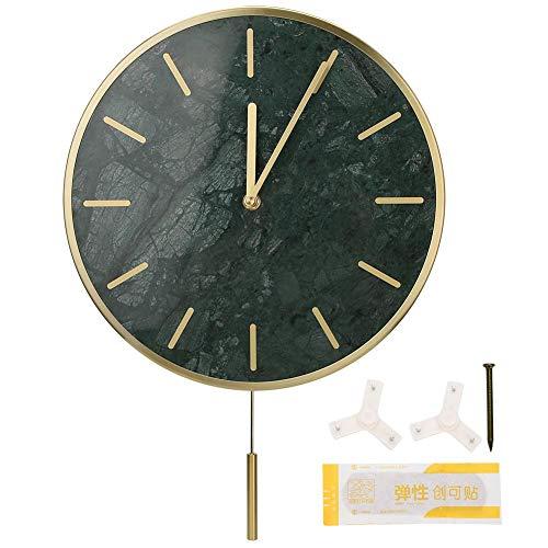 Ymiko Marmor Wanduhr, einfache Stil Hängende Uhr Silent Uhrwerk mit Pendel, Wanddekoration Leicht zu lesen Home/Büro/Klassenzimmer/Schuluhr (grün)