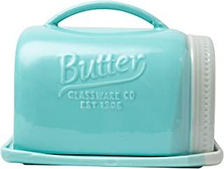 Mason Jar Ceramic Butter Dish with Lid and Handle - Vintage Ceramic Butter Holder - Decorative Butter Keeper with Rustic, Farmhouse Design - Convenient Butter Crock in Aqua Blue Color