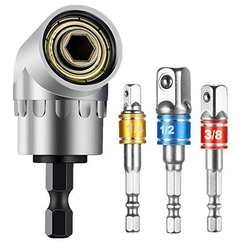 105° Winkelschrauber Vorsatz Adapter (1/4 Zoll, Bohrer Sechskantschaft) und 3 teilig Stecknussadapter Akkuschrauber Nuss Adapter Socket Steckschlüssel Nuss Set für Bithalter (1/4,3/8,1/2 Zoll)