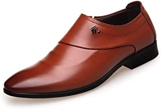 TONGDAUAE Shoes Classic Formal Business Oxford for Men Leisure Wedding Dress Shoes Slip on Microfiber Leather Flat Heel Men's leather shoes (Color : Brown, Size : 41 EU)
