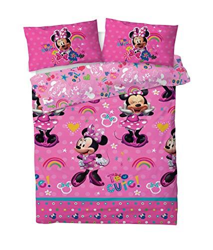 Disney Minnie Mouse Double Duvet Cover Bedding Set With Matching Pillow Case (Minnie Mouse Cute, DOUBLE (200cm x 200cm))