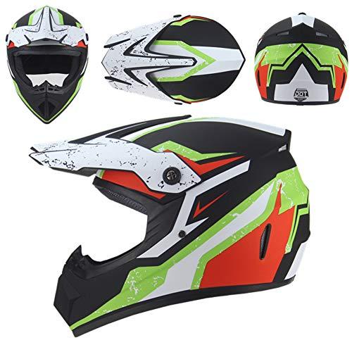 GAOZHE Casco de MTB de Integrales, Casco de Motocross Niños Adultos, Set de Cascos Motocicleta Downhill, Cascos de Moto Todoterreno para Hombre y Mujer (Gafas+Guantes+Máscara)