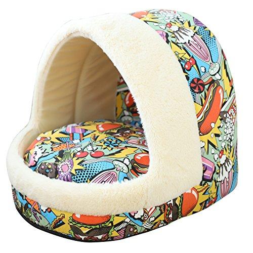 Tofern Hundebett Hundehöhle Katzenbett weich warm waschbar für kleine mittelgroße Hunde Katzen, bunt