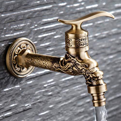 Grifo de baño en la pared latón pátina patrón dragón patrón sola manija lavadora inodoro fregona jardín lujo grifo frío