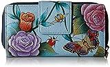 Anuschka Damen Clutch, handbemalt, Leder, Blau (Roses D'amour), Einheitsgröße