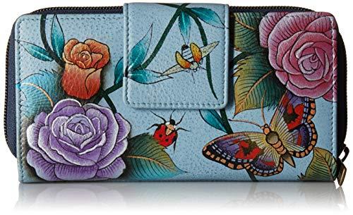 Anuschka Damen Hand Painted Leather Women's Organizer Wallet handbemalte Leder-Geldbörse, Clutch mit Organisiersystem, Roses D'amour, Einheitsgröße