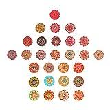 LOPOTIN 200pcs Botones de Madera Mezclados, Botones Retro Surtidos, Botones en Forma Flor, Botónes R...
