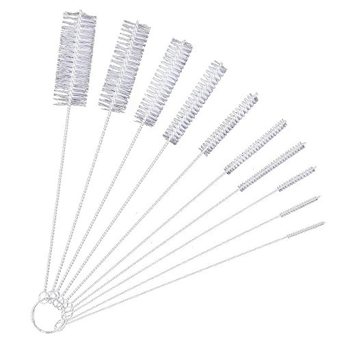 VieVogue 8.2 Inches Nylon Bottle Tube Nozzle Cleaning Brush Cap for Drinking Straws Glasses Jewelry Cleaning Stainless-Steel Set of 10 (White)