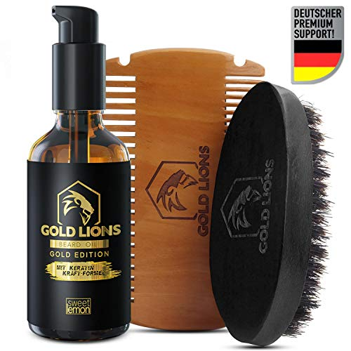 Gold Lions I Huile de barbe 100% pure bio + vitamine E I dans un verre de protection de la lumière I avec pompe + pipette I lime de Menthe I + eBook