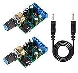 Youmile 2Pack Módulo Amplificador de Audio DC 1.8-12V TDA2822M 2.0 Canales estéreo AMPBoard Mini AUX DIY Sistema de Sonido Componente + 3.5mm Jack Cable