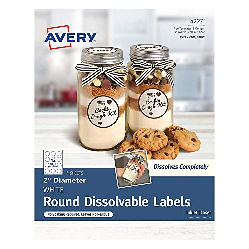Avery Printable Dissolvable Round Labels with Sure Feed, 2' Diameter, White, 60 Customizable Labels (4227)