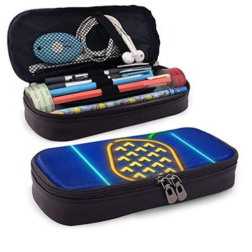 Neon Symbol der Ananas Reife Leder Federmäppchen mit Reißverschluss, PU Leder Bleistifthalter Stiftetasche Tasche