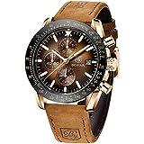 BENYAR Chronograph Mens Watch Quartz Movement 30M Waterproof | Leather Watch Strap | Chronograph |Analogue Watch| Business Watch| Scratch Resistant Watch| Mechanical Watch (Brown)