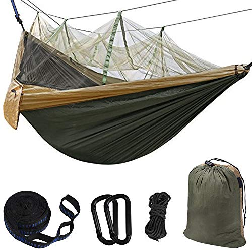 Hammock Camping Single & Double with Mosquito/Bug Net and Tree Straps & Carabiners | Easy Assembly...