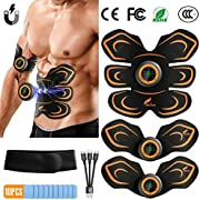 BUTURE Abs Trainer, EMS Muscle Stimulator USB Rechargeable Muscle Toner Fitness Training Gear with LCD Display & Abdominal Belt