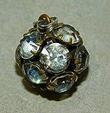 Dainty Vintage Sterling Silver Ball White Rhinestones Pendant Cham 12F 84 ES-4903