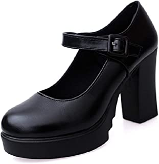 Women Mary Jane Pump Classic High Block Heel Platform Shoes Ankle Buckle Work Shoes by RJDJ