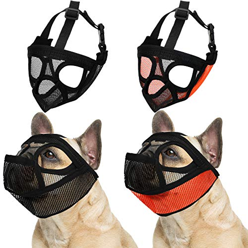Weewooday 2 Pieces Short Snout Dog Muzzle Mesh Mask Bulldog Muzzle with Tongue Out Design Adjustable Breathable Mesh Bulldog Muzzle Barking Biting Chewing Training for Small Dog