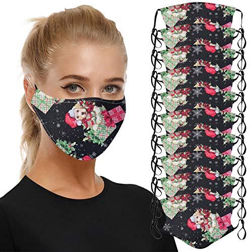 ZHX 10 Stück Weihnachten Atmungsaktive Mund und nasenschutz Gesichtsschutz Schutzhülle Outdoor Schutztuch staubdicht Winddicht Mund Schal für die persönliche Gesundheit Einstellbar Sportmaske (I)