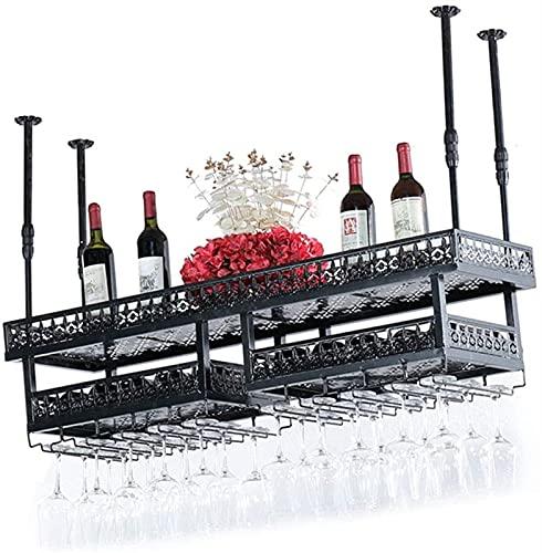 Estante de Vino de Moda Estante de Vino Altura Ajustable Colgante de Doble Capa de Hierro Forjado talleres de Vino de Vino, Barra Cocina Estante de Vino (Size : 100 * 31cm)