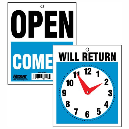 3 - U. S. Stamp and Sign Come In/open or Will Return Plastic Flip Sign with Clock Hands, 7.5 X 9 Inches (9382)