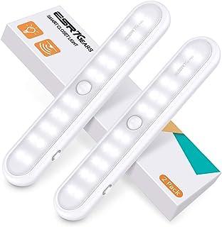 ESR7Gears Luz Armario de 20 LED con sensor de movimientos, 3 modos de iluminación, Lámpara nocturna inalámbrica portátil para Pasillo Cocina, Magnético Sin instalación, Funciona con pilas, 2 unidades