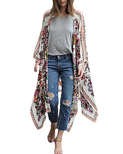 Cardigan Largo Mujer Verano Gasa De Frente Abierto Basic Ropa Hippie Boho Estampado Flores Elegantes Moda Camisas Tunicas Playa Kimono Bikini Cover Up Tops Ropa (Color : Blanco, Size : M)