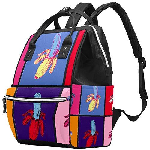 Pop Art Banana luiertas rugzak, multifunctionele Travel Back Pack Moederschap Baby veranderende tassen, grote capaciteit, waterdicht en stijlvol