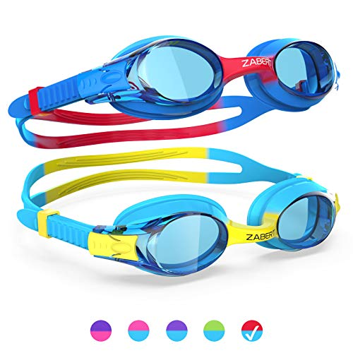 ZABERT [2Pack K20 Kids Swim Goggles, Swimming Goggles for Kids Toddler Youth Boys Junior Jr Childrens Child Little Baby Age 3 4 5 6 7 8 9 10 11 12 Years Anti Fog Blue Yellow & Blue Red Clear