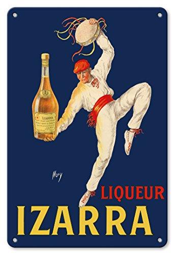Liqueur Izarra - Grande Liqueur de la Côté Basque - Danseur Traditionnelle Basque à Red Gerriko et Txapela - Affiche Publicitaire de Mory c.1930s Plaque d'art en métal 20 x 30cm