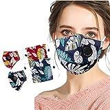 Adultos Mask_Mascarilla con 2 Bolsa de tela para guardar Pañuelos para el cuello, Impresión de hoja ...