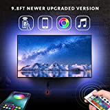 Nexillumi LED Strip Lights for 43''-55'' TV with Remote App Control LED TV Backlight Color Changing RGB LED Strip USB Powered (APP Control+ Remote) (9.8Ft + 3.4Ft Corner Cords)