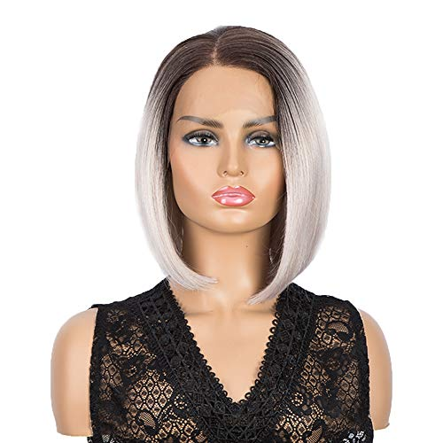 NOBLE 4x4 Lace Frontal Long BOB Wigs for Women |11.5 inches Free Part Classical Bob Wig | Realistic Synthetic Wig Ash Pink