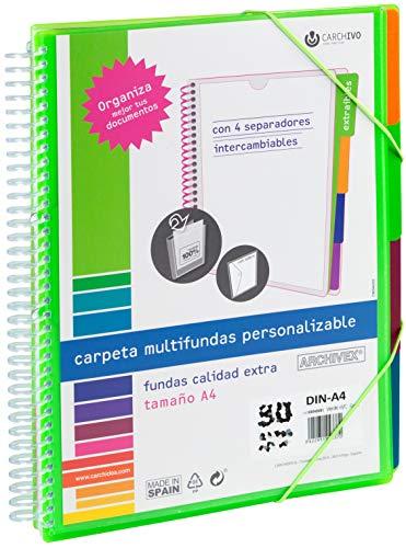 Carchivo - Carpeta Archivex personalizable de 40 fundas con separadores intercambiables, color verde claro
