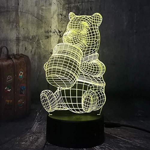 3d honig nette winnie bär led nacht lampe glühbirne dekoration lichter geschenk für kinder cartoon neuheit atmosphäre touch tischlampe